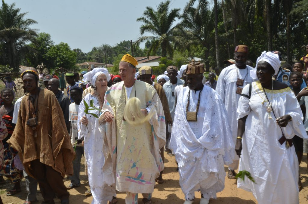 Donald and Ankie Keus in the parade towards the Chief Crowning Ceremony in Yele (2016